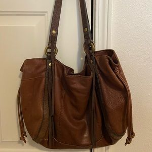 Lucky Brand Vintage Western Boho Brown Leather Bag